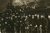 A group of locomotive workshop workers