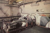 Preparation of the GTK-10-4 turbine for tests on the factory test bed. 1950