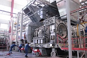 Installation of a gas turbine on the test bed